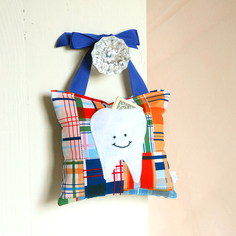 Boys Tooth Fairy Pillow in Navy Blue and Tangerine Orange Nautical Madras Print