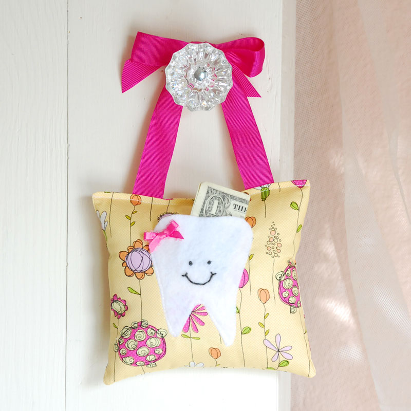 Girls Tooth Fairy Pillow in Pink and Yellow